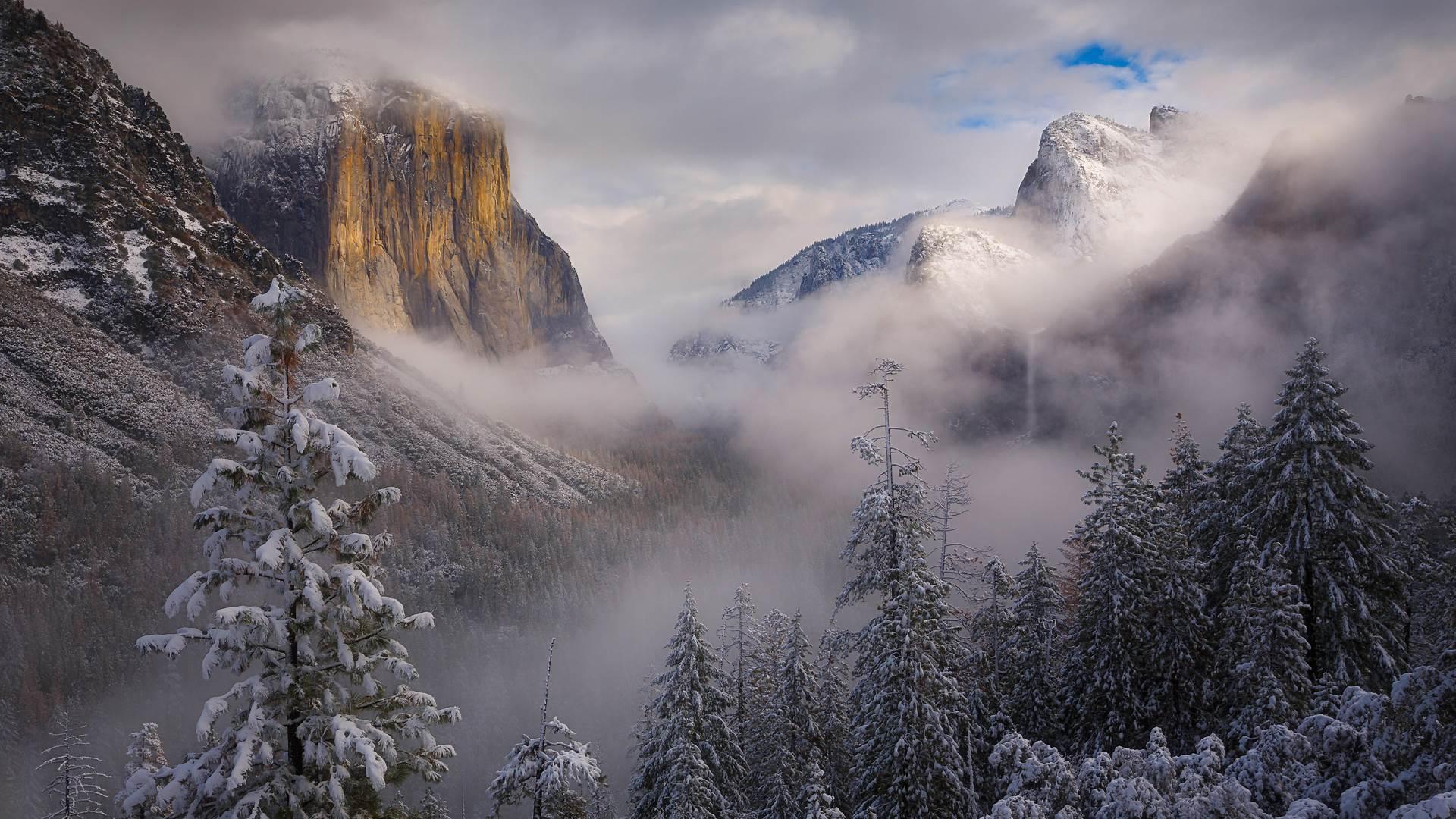 暴风雪散去,加利福尼亚优胜美地国家公园