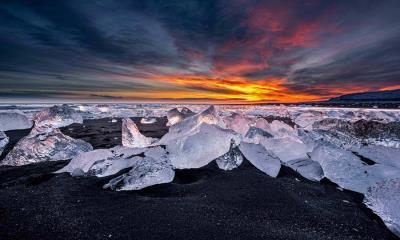2021.01.04 - 冰河湖对面的钻石冰沙滩,冰岛