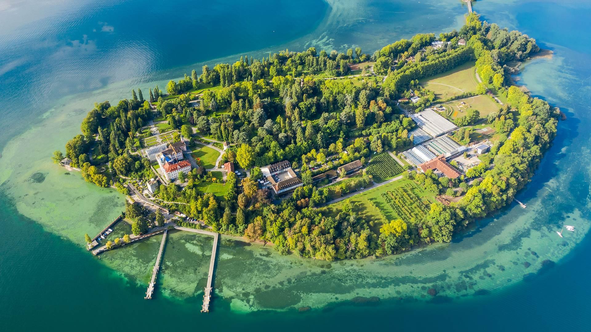 鸟瞰博登湖上的迈瑙岛,德国