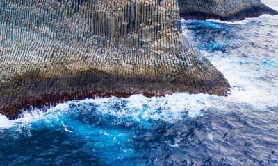 鸟瞰戈梅拉岛上管风琴形状的玄武岩,西班牙加那利群岛