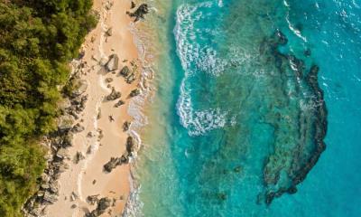 百慕大马利海滩鸟瞰图