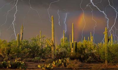 图森北部托托利塔山麓上空的雷暴,亚利桑那州索诺拉沙漠